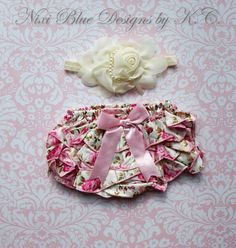 ***Included in this listing: Satin bloomers+Headband***    Size Newborn to 2 years    Adorable Ivory floral satin bloomers and Flower headband