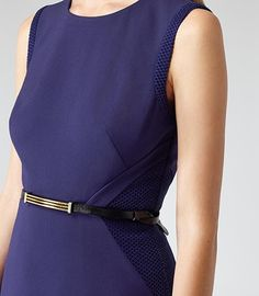 Womens Blue Passion Textured Fit And Flare Dress - Reiss Toluca
