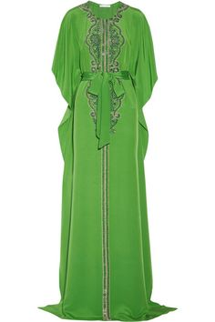 OSCAR DE LA RENTA Embellished silk-crepe kaftan. Was $4,940.73 Now $2,470.36 50% OFF: http://rstyle.me/n/vwmsdr6gw