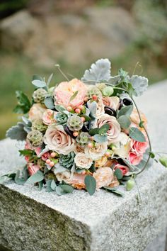 peony, rose, lambs ear and scabiosa pod bouquet, beautiful bridal bouquet, simple lakeside wedding, peach, pink, beige, cream, and mint wedding ideas, Ruth Eileen Photography