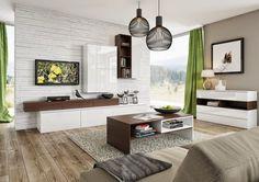 parement mural salon en pierre blanche, peinture taupe et plancher massif
