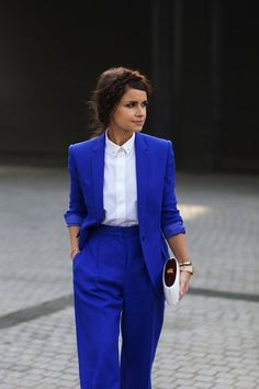 {Business attire} | Cobalt blue blazer, white button up blouse, cobalt blue pants, white minaudière.