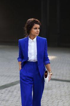 {Business attire} | Cobalt blue blazer, white button up blouse, cobalt blue pants, white minaudière.