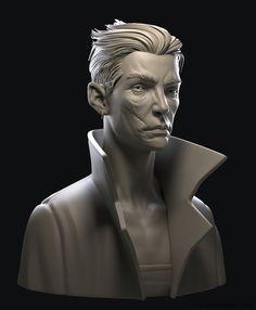 Dishonored 2 Bust - (WIP), Vincent Ménier on ArtStation at https://www.artstation.com/artwork/21Wbx