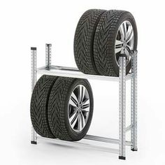 Robust and space-saving tyre racking on two levels to accommodate tyres. Tenerife, Tire Rack, Rack Design, Garage House, Space Saving, Small Spaces, Baby Strollers, The Unit, How To Plan