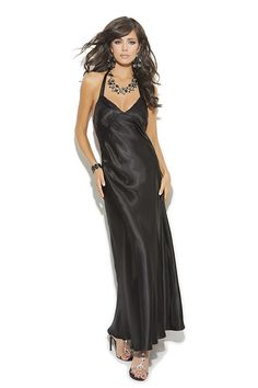 Long Black Satin Nightie - Slip into this luxurious floor length black satin nightie, and curl up on the couch with a bowl of ice cream and a good book. Who said dressing up had to be for someone else? This gorgeous satin maxi feels great against your skin, and keeps you covered up and comfortable. On a chilly night a high end satin dress might just be what the doctor ordered. #blacksatinnightie