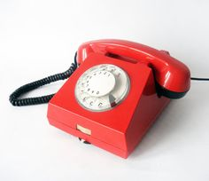 I LOVE red!    Bright Red and Black Rotary phone - Vintage European Rotary Telephone - Red Retro Rotary Phone - East Europe Made in Romania