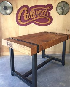 We built this beautiful industrial table and shipped it earlier this week. Can't wait to see it in its final home in Maryland. #Carved_Furniture
