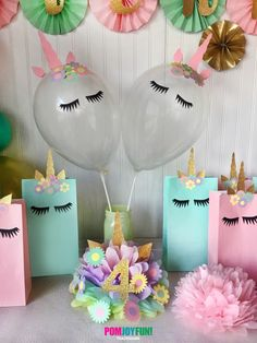 Unicorn Balloons, set of 2 Unicorn Party Balloons 11 Inch, Unicorn Party Decor and Birthday Decor, Unicorn Balloon Kit by PomJoyFun on Etsy https://www.etsy.com/listing/524379094/unicorn-balloons-set-of-2-unicorn-party