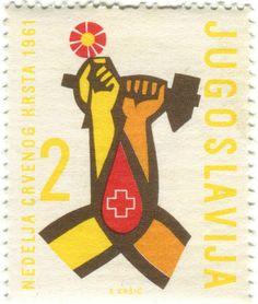 Yugoslavia postage stamp: Red Cross tear  c. 1961  designed by Bogdan Kršić