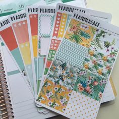 "Pineapple Toucan Planner Sticker Full Kit ""Pina Colada"", Yellow, Red, Green, Mint, Summer Vertical Erin Condren Stickers, Happy Planner"