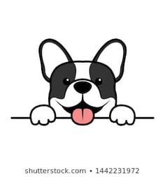 Cute french bulldog puppy paws up over wall, dog face cartoon, vector illustration