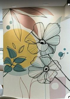 Diy Wall Painting, Diy Wall Art, Painting & Drawing, Mural Art, Wall Murals, Ceiling Design, Wall Design, Buddha Canvas, Flower Art Drawing