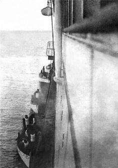 Titanic survivors being transferred to the Carpathia.