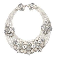 suzanna dai  IVORY WINDSOR NECKLACE  Gems, tiny rhinestones, crystal stones, silver bugle beads  Ivory leather backing