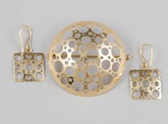 """Liisa Vitali Brooch and pair of earrings, Westerback 1967 & gold © Hagelstam & Co (quote) via hagelstam. Metal Working, Jewerly, Hoop Earrings, Brooch, Ceramics, Brutalist, Personalized Items, Scandinavian, Lisa"