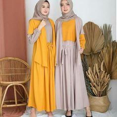 Nesa Dress Bahan Mosscrepe Fit to L Order Line/WA  Casual Hijab Outfit, Mocca, Yellow Dress, Dusty Pink, Hijab Fashion, Kimono Top, Girly, Mustard, Blazer