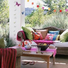20 Amazing Bohemian Porch Décor Ideas : 20 Amazing Bohemian Porch Décor Ideas With White Rattan Sofa Pillows And Table And Stone Floor Outdoor Rooms, Outdoor Living, Outdoor Furniture Sets, Outdoor Decor, Outdoor Patios, Outdoor Seating, Outdoor Couch, Wicker Furniture, Outdoor Cushions
