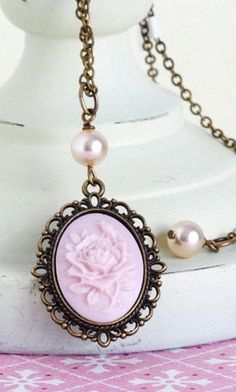 Soft Pink Cameo Necklace With Pink