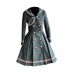 Partiss Womens School Uniforms Dress Japanese Anime Classic Sailor... ($111) ❤ liked on Polyvore featuring outerwear, coats, sailor coat and animal coat