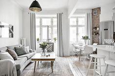 Todo blanco y una pared de madera o ladrillo en este caso para contrastar y dar profundidad!!!!