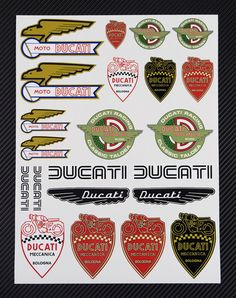 DUCATI Old logos Highest quality decal sheet set – Laminated! The decals are printed using only original Roland UV inks, insuring deep color