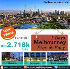 Liburan telah tiba! Yuk habiskan liburan Anda di kota #Melbourne sekarang juga. Kini tersedia paket 3 Hari Melbourne #Free & #Easy dengan harga terjangkau lho.  Dapatkan Spesial Paket tersebut dari #LiburYuk http://liburyuk.com/searchpackage/?destination=Australia&searchtype=1&checkin=27+June+2014&night=2&adult=2&child=0 #Australia #AbbeyTravel #jalan2 #holiday