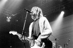 Kurt Cobain playing guitar and singing on stage - #Nirvana #blackandwhite