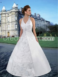 Brilliant A-line Halter Sleeveless Floor-Length Chapel Embroidery Plus Size Wedding Dresses