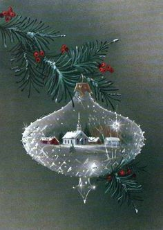 Vintage Christmas Ornaments That Take Us To A Stroll Down Memory Lane 35 Christmas Tree Cards, Old Fashioned Christmas, Christmas Scenes, Christmas Past, Christmas Greetings, Winter Christmas, Christmas Decorations, Christmas Ornaments, Christmas Crafts