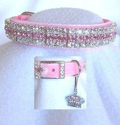 Pink Dog Collars, Puppy Collars, Leather Dog Collars, Yorkies, Maltipoo, Pet Dogs, Dog Cat, Rhinestone Dog Collar, Pink Velvet
