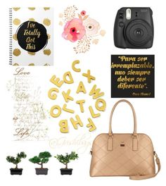 """Un espacio dorado"" by alex-groma on Polyvore featuring moda, Fujifilm, Nearly Natural y Grishibags"