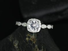 Petite Christie 14kt White Sapphire and Diamonds Cushion Halo WITH Milgrain Engagement Ring (Other metals and stone options available) on Etsy, $760.00