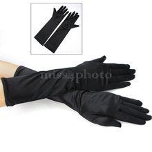 Las Mujeres de moda de Señora Negro Dedo Tramo Satinado Vestuario Dressup…