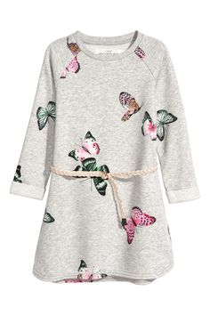 Sweatkleid   Hellgraumeliert/Schmetterlinge   KINDER   H&M DE