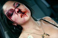 car wreck wounds face makeup | car accident broken nose
