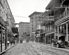 Saint Charles Avenue from Canal Street. Peter Fabacher & Bros Restaurant, New Orleans, ca 1910