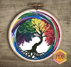 Tree Watercolor Modern Cross Stitch Pattern, Seasons Counted Cross Stitch Chart, Nature Embroidery H Cross Stitch Beginner, Easy Cross Stitch Patterns, Simple Cross Stitch, Cross Stitch Flowers, Cross Stitch Charts, Cross Stitch Designs, Cross Stitch Alphabet, Cross Stitch Samplers, Cross Stitch Animals