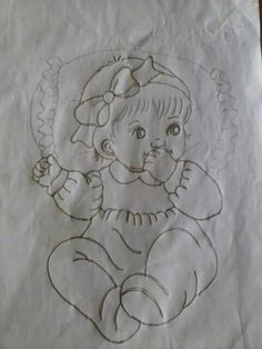 Baby Embroidery, Vintage Embroidery, Embroidery Patterns, Quilt Patterns, Adult Coloring, Coloring Books, Coloring Pages, Baby Girl Quilts, Girls Quilts
