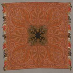 "Paisley Shawl - Jacquard-Woven Wool with Harlequin Borders and Fringe. European. Circa 1855. 5'-10""."
