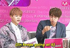 Awww Jin look adorable but then there's Suga