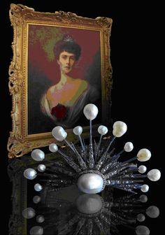 An antique diamond and pearl tiara, 19th century.