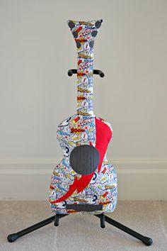 Classic Superhero Guitar Pillow / Guitar Softie by pookiedookie