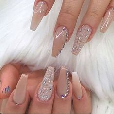 70 Winter Nail Art Ideas Cooler Than The Weather 70 Winter Nail Art Ideas Cooler Than The Acrylic Nails Coffin Short, Best Acrylic Nails, Acrylic Nail Designs, Coffin Nails, Diamond Nail Designs, Aycrlic Nails, Dope Nails, Swag Nails, Beige Nails