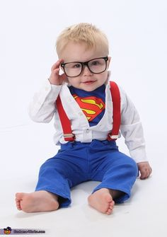 Samantha: My 1 year old son tyler is wearing the costume. I was inspired by pinterest and his natural curl in the front of his hair! I used a superman onesie...