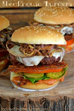 These Steakhouse Burgers are packed with layers of flavor. Chipotle ketchup, melted jack cheese, Peppered Bacon and fried onion straws.