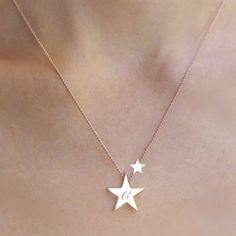 A beautiful star charm necklace which features two silver or rose gold stars, your lucky comes complete with an initial of choice. My Lucky Star Personalised …
