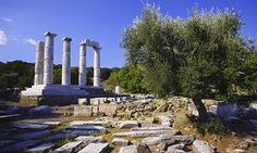 DDR639 Doric  Hieron  temple, Sanctuary of the Great Gods on Oros Fengari (Mount Moon), Samothrace island. Northern Aegean Sea, Greece