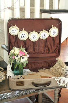Handmade Wedding Cards Banner with Vintage Sheet by pepperspaperie, $21.25