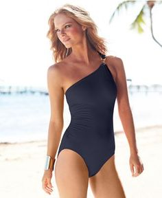 MICHAEL Michael Kors Swimsuit, One-Shoulder Maillot One-Piece - Swimwear - Women - Macys